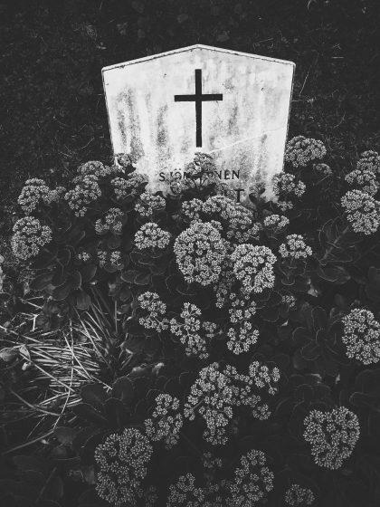En sjömans gravsten i ett hav av blommor