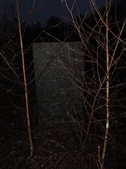 Det är natt och bakom avlövade träd syns en gravsten.