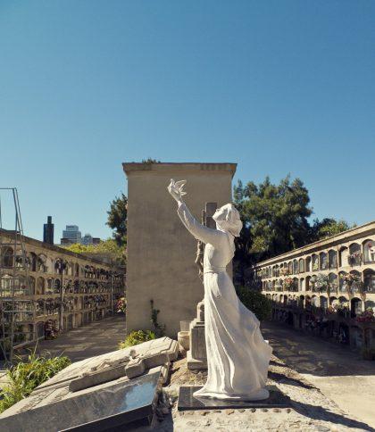 Kvinna som släpper en duva fri på kyrkogården poblenou
